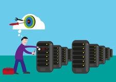 IT Technicusdoelstellingen om het probleem in de serverruimte te bevestigen en op te lossen Het art. van de Editableklem royalty-vrije illustratie