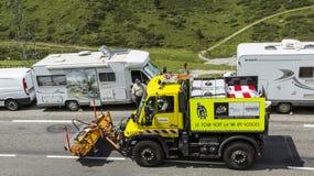 Techniczna ciężarówka na drodze Le tour de france 2014 Zdjęcie Royalty Free