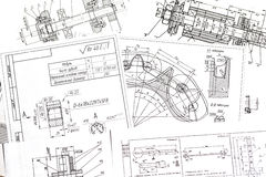 Techniczni rysunki części zdjęcie stock