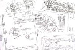 Techniczni rysunki części obrazy stock