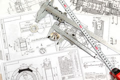 Techniczni rysunki części fotografia stock