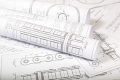 Techniczni inżynieria rysunki Zdjęcie Royalty Free