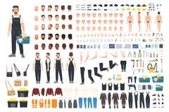 Techniczny pracownika tworzenia zestaw Set płaskie męskie postać z kreskówki części ciała, skóra pisać na maszynie, twarzowi gest royalty ilustracja