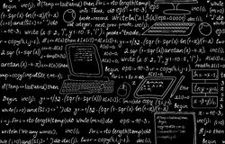 Techniczny wektorowy bezszwowy wzór z programowanie kodem, programów spływowymi diagramami, formułami, technicznymi przyrządami i Fotografia Stock
