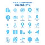 Techniek Blauwe Tone Icon Pack - 25 Pictogramreeksen royalty-vrije illustratie