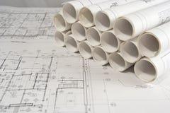 Techniek en architecturale tekeningen Royalty-vrije Stock Afbeelding