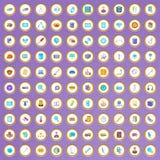 100 techniekpictogrammen die in beeldverhaalstijl worden geplaatst Royalty-vrije Stock Afbeelding