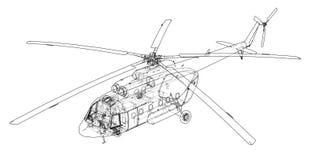 Techniektekening van helikopter vector illustratie