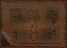 Techniektekeningen op een houten raad Stock Afbeelding