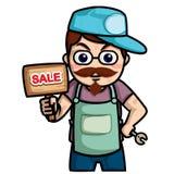 Technik kreskówka, mężczyzna chwyta etykietki sprzedaż lub usługa, Zdjęcia Stock