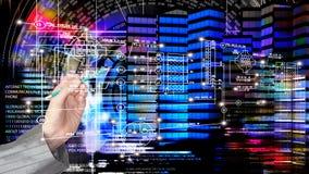 Technik, modernes Innovationsgebäude entwerfend Globalisierung C Lizenzfreie Stockfotos