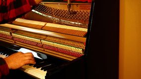 Technik nastraja pionowego pianino bawić się czarny i biały klucze i używać dźwignię, narzędzia i dociskać sznurki lub rozluźniać zbiory