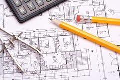 Technik- und Architekturzeichnungen Lizenzfreie Stockfotografie