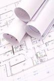 Technik- und Architekturzeichnungen Stockfoto