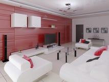 Technika żywy pokój z modnym nowożytnym meble royalty ilustracja