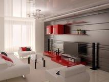 Technika żywy pokój z praktycznym meble ilustracji