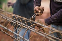 Technika plika drutu stalowy prącie dla budowy Obrazy Royalty Free