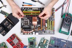Technika ulepszenie komputerowy odgórny widok, płyta główna Fotografia Royalty Free