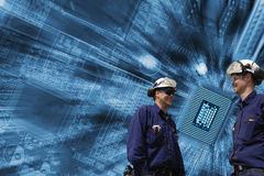 Techniker, Computer und Kommunikation Lizenzfreie Stockfotos