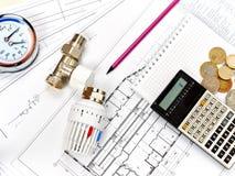 Technikheizung Konzept-Heizung Projekt der Heizung für Haus Stockfotografie