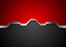 Techniki czerni i czerwieni abstrakcjonistyczny tło z metalu srebra lampasem Obraz Stock