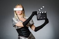 Techniki kobieta w futurystycznym Obraz Stock