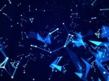 Techniki tło Z kreskowym abstrakcjonistycznym Złączonym sieci tłem, błękitny wieloboka temat Fotografia Royalty Free