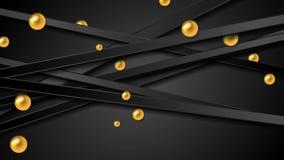 Techniki wideo animacja z czerń lampasami i złotymi piłkami royalty ilustracja