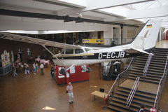 Technikmuseum. CIRCA MAY 2014 - BERLIN: the original Cessna airplane used by Mathias Rust to land near the Red Square during the Cold War in 1987 on exhibit at stock image