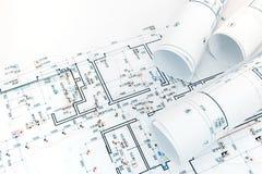 Technikprojekt für Plan der elektrischen Lichter in der Wohnung lizenzfreies stockfoto