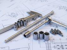 Technikwerkzeuge auf technischer Zeichnung Lizenzfreies Stockbild