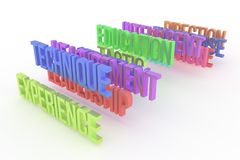 Technique, experience & education, business conceptual colorful 3D words. Digital, artwork, abstract & message. Technique, experience & education, business royalty free illustration