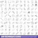 100 technique icons set, outline style. 100 technique icons set in outline style for any design vector illustration Royalty Free Stock Images