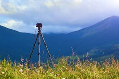 Technique of photographing timelapse, beautiful sky and summer landscape in the mountains stock image