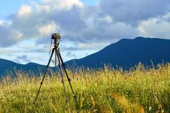 Technique of photographing timelapse, beautiful sky and summer landscape in the mountains.  royalty free stock images