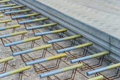 Technique for pouring concrete at the aerodrome. Stock Photo