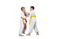 Techniques Judo in performing athletes in judogi Royalty Free Stock Images