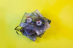 Techniques of yesterday`s audio cassettes. Techniques of yesterdays audio cassettes royalty free stock photo