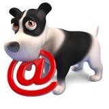 Technisch gesinntes Hündchen hält ein E-Mail-Symbol in seinem Mund, 3d zu übertragen lizenzfreie abbildung