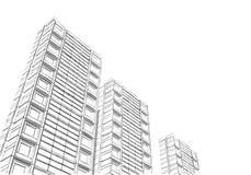 Technisch project van de stad Tekening van wolkenkrabbers, gebouwen Grote stedencityscapes en gebouwen het 3D teruggeven - Illust stock foto