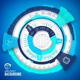 Technisch virtueel technologie industrieel infographic concept Wervelingsstijl Illstaration Techno blauwe interface Stock Afbeelding