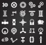 Technische die mechanismenpictogrammen op zwarte achtergrond voor grafisch en Webontwerp worden geplaatst Eenvoudig vectorteken H royalty-vrije illustratie