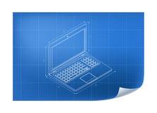 Technische Illustratie met laptop tekening Royalty-vrije Stock Afbeelding