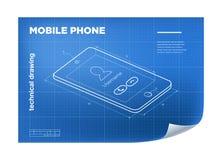 Technische Illustratie met mobiele telefoon die op de blauwdruk trekken Royalty-vrije Stock Foto's