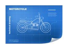 Technische Illustratie met motor die op de blauwdruk trekken Stock Foto's