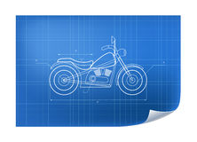 Technische Illustratie met motor die op de blauwdruk trekken Stock Afbeeldingen
