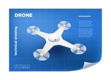 Technische Illustratie met vector isometrische witte quadcopter Stock Afbeeldingen