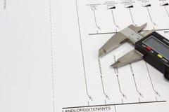 Technische Konstruktionszeichnung Stockfotografie