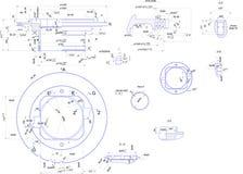 Technische Konstruktionszeichnung der industriellen Ausrüstung Stockbild