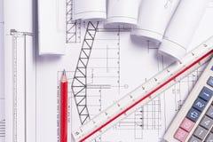 Technische Konstruktionszeichnungen Stockfoto